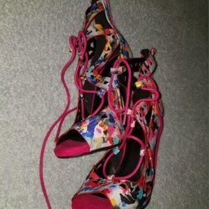 6.5M Lace-up Peep Toe High Heels w/ Zipper